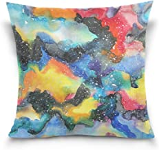 "MASSIKOA Watercolor Galaxy Decorative Throw Pillow Case Square Cushion Cover 20"" x 20"" for Couch, Bed, Sofa or Patio - Onl..."
