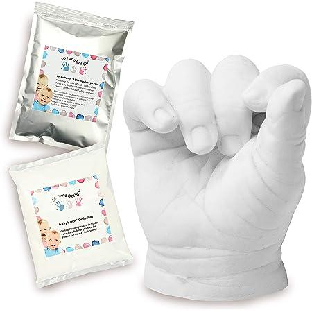 Lucky Hands® Kit de Moulage 3D   empreintes de mains et pieds bébé (0-6 mois   sans accessoires, 2-3 moulées)