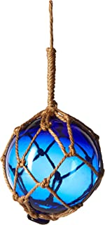 Hampton Nautical Blue Japanese Glass Ball Fishing Float with Brown Netting Decoration 6