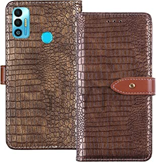 YLYT Shockproof - Gold Flip Leather TPU Silicone Luxury Cover Stand Wallet Case For Tecno Spark 7T 6.52 inch Pouch With Ca...
