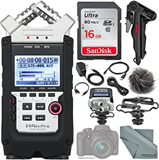 Zoom H4nPro Four-Channel Handy Audio Recorder – Accessory Pack kit, Microphone Shock mount, Table tripod, 16GB, along with Fibertique Cleaning cloth