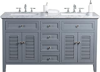 Stufurhome HD-1300G-60-CR Genevieve 60 inch Slate Gray Vanity Cabinet w/Shutter Double Doors Dual Bathroom Sinks, 60