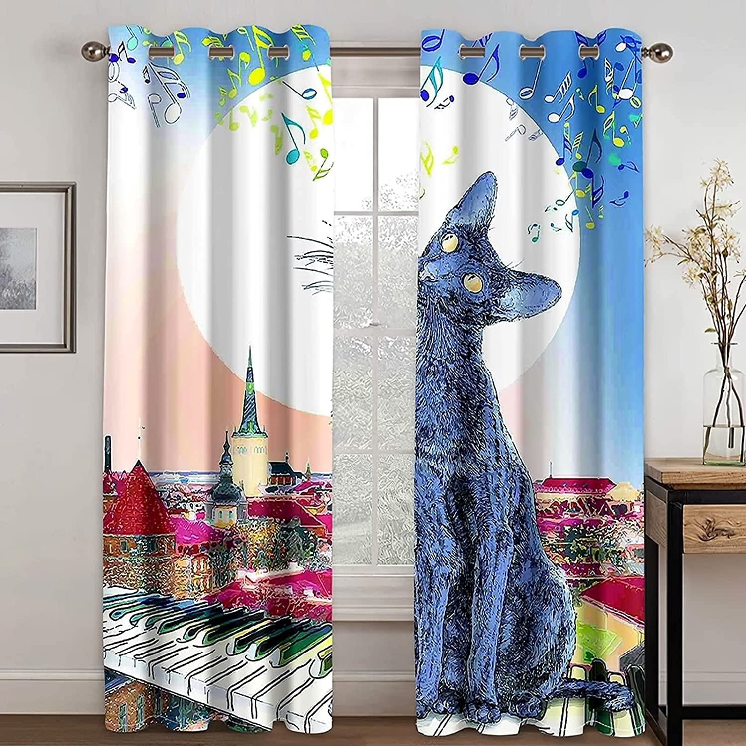 Adisaer mart Blue White Curtains for Living Cat Mus Piano and On Room Daily bargain sale