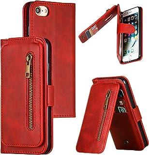 LODROC iPhone 8/7/iPhone SE 2020 hoes, TPU lederen hoes, magnetische beschermhoes [kaartenvak] [standfunctie], stootvaste ...