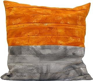 Cojín gris y naranja de bandas pintadas, funda de cojín de 45 x 45 cm, diseño original de BeccaTextile.