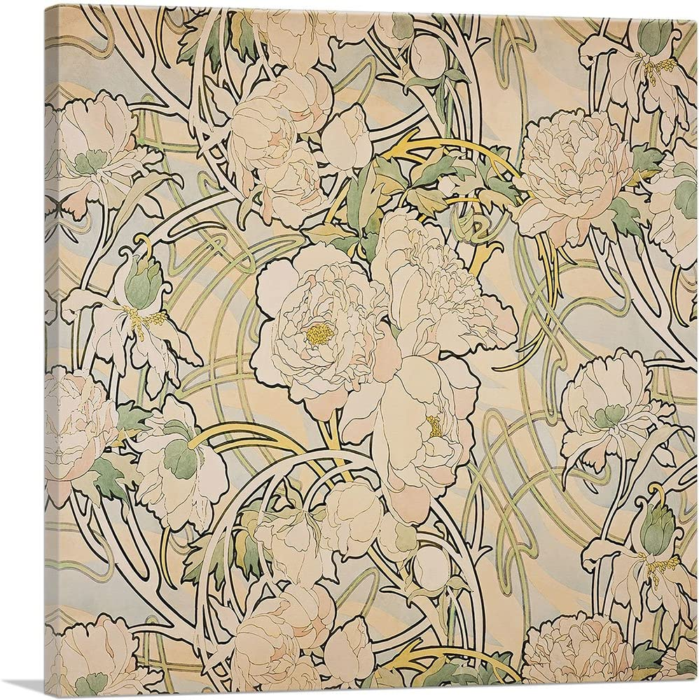 ARTCANVAS sold out Peonies 1897 Canvas Art Print Mucha - Sale special price Alphonse by 36