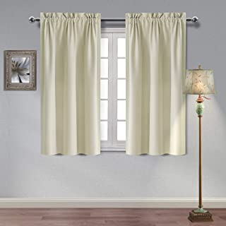Homedocr Beige Blackout Curtains Thermal Insulated and Noise Reducing Room Darkening Window Curtains for Bedroom and Living Room, 38 x 45 Inches, 2 Curtain Panels