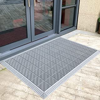 Outdoor Doormat for Front Porch Garage Banks, Grey Non Slip Entryway Welcome Mats Washable, 90/120/180/105/150/270/240cm L...