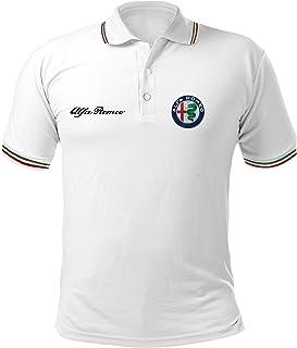 Polo Camiseta Estilo Alfa Romeo Mito Giulietta Giulia Stelvio Coche Rally Racing T-Shirt Hombre Personalizado Blanco PBAL1