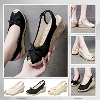 UULIKE Chaussure Mode Sandale Espadrille lanière Cheville Plateforme Poisson Bouche Pantoufles Bohème Femme Corde avec de ...
