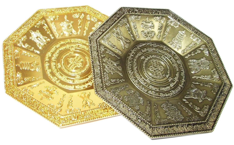 【REG-INTE7】風水 香皿 香炉 香器 八角形皿 天然さざれ石 付き (青銅色)