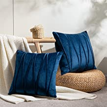 Topfinel Square Decorative Throw Pillow Covers Soft Velvet Outdoor Cushion Covers 18 X 18 for Sofa Bed, Set of 2, Navy