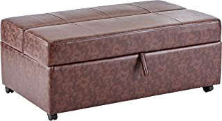 Upholstered Bench with Fold Out Sleeper and Casters Dark Brown