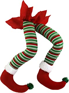 WEWILL 20'' Elf Legs for Christmas Decorations Stuffed Legs for Christmas Home Party Tree Fireplace Ornaments (Red)