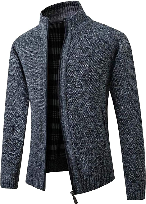 Men's Fall Winter Fleece Knit Stand Collar Regular Fit Zip Front Cardigan Sweater Coat