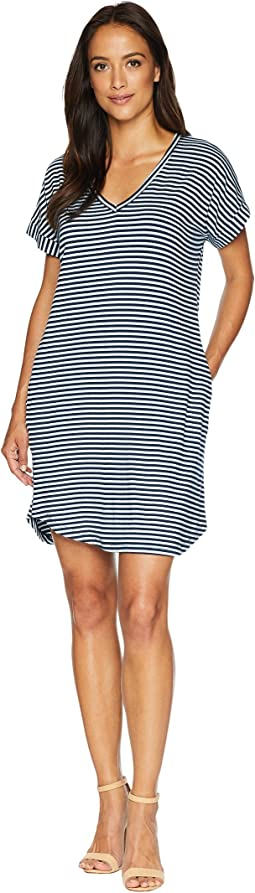 Stripe Short Sleeve Vee Dress with Pockets