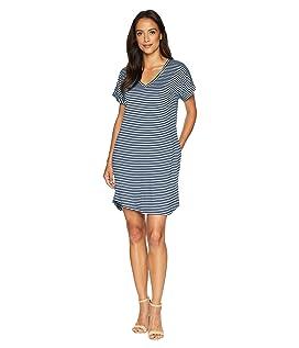 Stripe Short Sleeve Vee Dress with Pockets