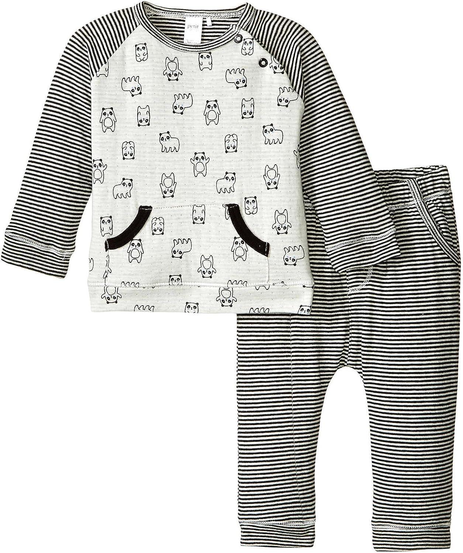 Petit Lem baby-boys Panda 2 Pieces Set T-shirt and Pants Knit
