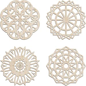 Ambesonne Mandala Wooden Wall Art Set of 4, Floral Energy Ornament Medallion Orient, Birch Wood Plywood Rustic Wall Art Accent for Hallway Bedroom Living Room Cafes and Offices, 11.4