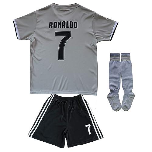 1e4fdbe1004 FCM 2018/2019 CR7 New #7 Cristiano Ronaldo Kids Soccer Jersey & Shorts Youth