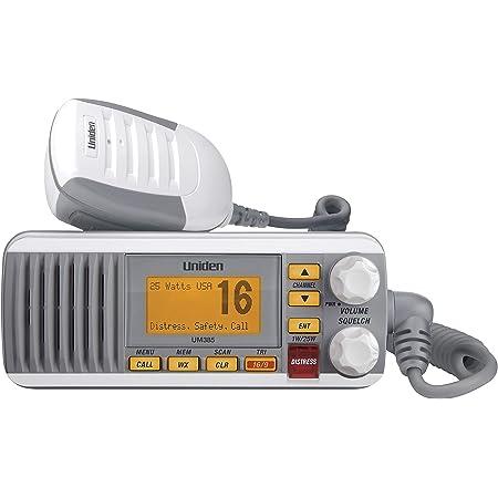 Uniden UM385 25 Watt Fixed Mount Marine Vhf Radio, Waterproof IPX4 with Triple Watch, Dsc, Emergency/Noaa Weather Alert, All Usa/International/Canadian Marine Channels, Memory Channel Scan, White