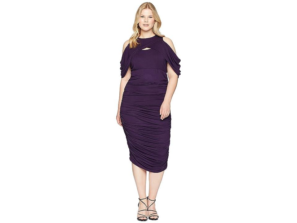 Kiyonna Bianca Ruched Dress (Plum) Women