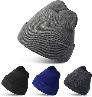 4 Pack Beanies Winter Hats Warm Knitted Cap for Men & Women (Black/Light Gray/Dark Gray/Dark Blue)