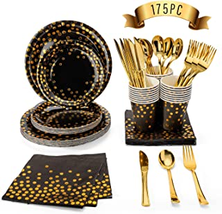 Glotoch Disposable Paper Dinnerware Sets,Black and Gold Party Supplies 175PCS-Black Paper Plates Napkins Cups, Gold Plasti...
