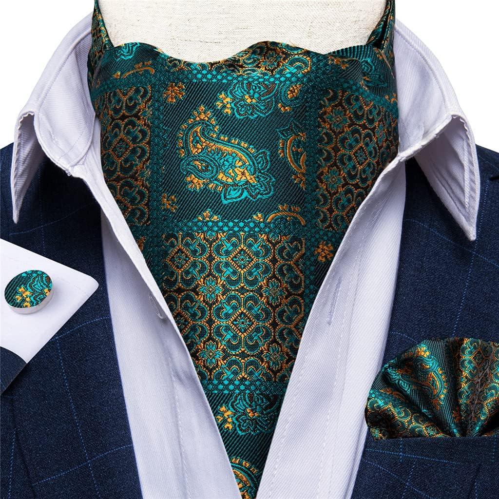 KLHHG Men's Silk Cravat Tie Teal Green Formal Cravat Scrunch Self Necktie Pocket Square Set Wedding Party (Color : A, Size : One size)