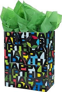 """هالمارک 13 """"کیف بزرگ هدیه تولد با دستمال کاغذی (تولدت مبارک با حروف سیاه)"""