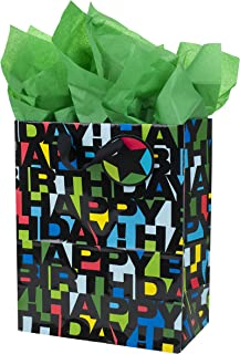 Hallmark 13 Large Birthday Gift Bag with Tissue Paper (Happy Birthday in Black Letters)