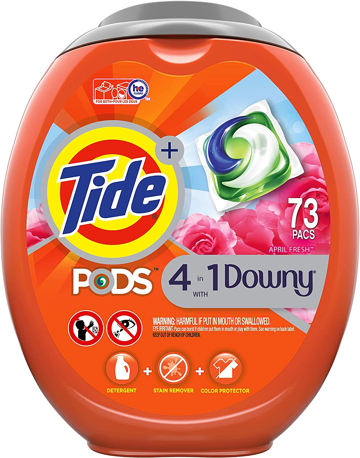 Tide PODS 4 in 1 with Downy, Laundry Detergent Soap PODS, April Fresh Scent, 73 Count : Health & Household