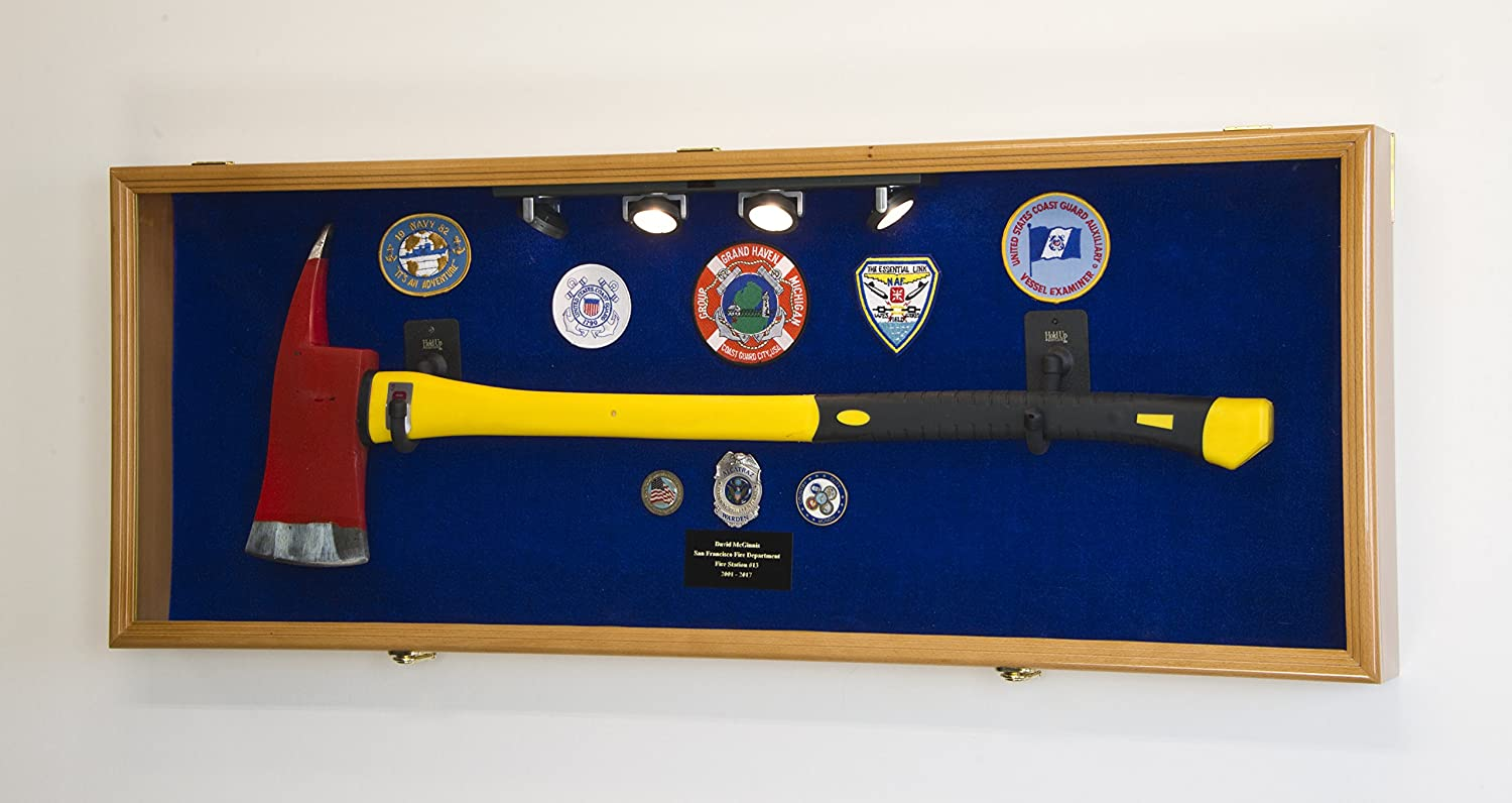 Firefighter Fireman Axe Display Case Cabinet Loc UV 98% - Holder free shipping low-pricing