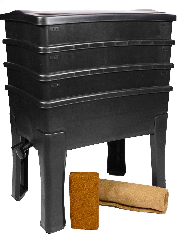 96 litros gran capacidad kit completo I Lombricompostor 3 bandejas I 1 kg de lomo de Compost I Worm Caf/é