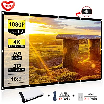 Ylife 100 Inch Projector Screen, 16:9 HD 4K No ...