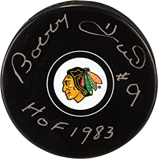 """Bobby Hull Chicago Blackhawks Autographed Hockey Puck with""""HOF 1983"""" Inscription - Fanatics Authentic Certified"""