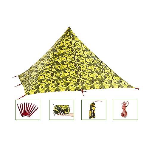 キャンプテント Desert Walker テント 軽量 0.7KG 3 色 1〜2人用 登山 テント に適用 3000MM防水に強い ワンポールテント スーパー耐引裂性 15Dナイロン両面シリコーンオイル 防風 コンパクト設計 バッグ付き