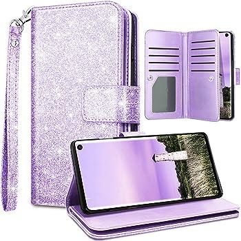 Fingic Galaxy S10E Case Wallet, Samsung S10E Case, Glitter Sparkle Premium PU Leather Wallet Case Card Holder Wrist Strap with Kickstand Flip Case Cover for Women for Samsung Galaxy S10E, Purple