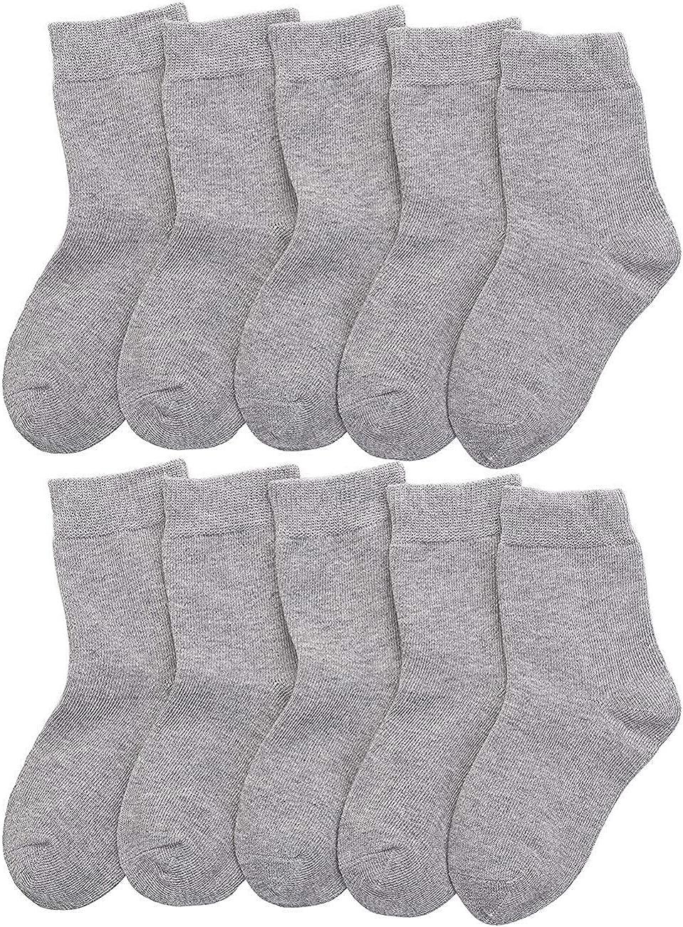 CHUNG Toddler Boys Girls 10/12 Pairs Athletic Cotton Basic Crew Socks Autumn School Uniform Casual Sports