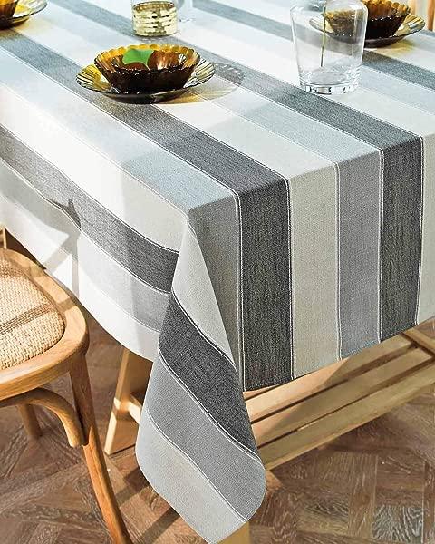深梦桌布染色条纹餐桌布棉布床单抗皱抗褪色餐桌装饰厨房用餐派对长方形 55x86 6 8 座白灰色