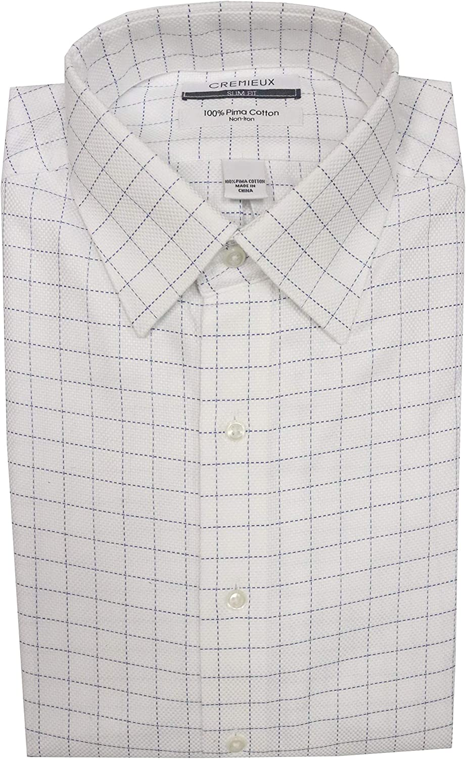 Cremieux Non Iron Slim Fit Spread Collar Checked Dress Shirt S95DH120 White/Navy
