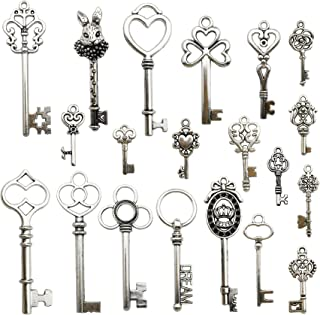 40Pcs Craft Supplies Mixed Skeleton Key Charms Pendants for Crafting, Jewelry Findings Making Accessory For DIY Necklace Bracelet Earrings (Silver Key Charms)