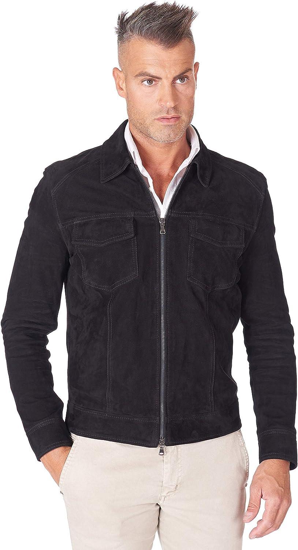Black Suede Lamb Leather Biker Jacket with Zipper