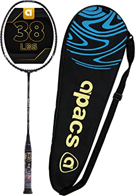 APACS Finapi 232 (38 LBS, Mega Tension) Graphite Unstrung Badminton Racket with Full Cover