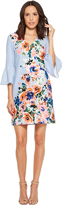 Donna Morgan - Crepe Floral Placement Print Dress with Bell Sleeve