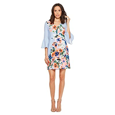 Donna Morgan Crepe Floral Placement Print Dress with Bell Sleeve (Sky Blue/Pink Multi) Women