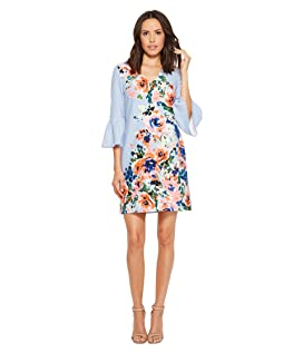Crepe Floral Placement Print Dress with Bell Sleeve