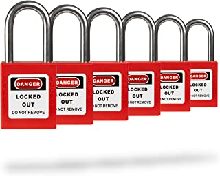 Lockout Tagout Safety Padlock - Red - 6 Pack - Keyed Differently - OSHA Compliant - Stainless Steel Shackle - Premium Grade