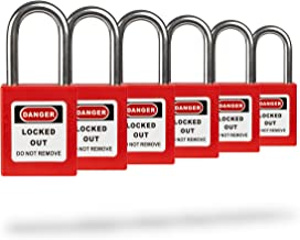 TRADESAFE Lockout Tagout Safety Padlock - Red - 6 Pack - Keyed Differently - OSHA Compliant - Stainless Steel Shackle - Premium Grade