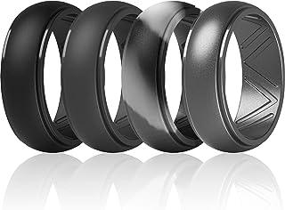 خاتم الزفاف المصنوع من السيليكون للرجال من ثاندرفيت، بحافة مدببة - بعرض 8.7 مم، سمك 2.5 مم